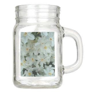 Paperwhiteのスイセンの敏感な白い花 メイソンジャー