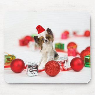 Papillon犬のクリスマスのサンタのかわいい帽子 マウスパッド