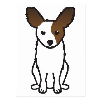 Papillon犬の漫画 ポストカード