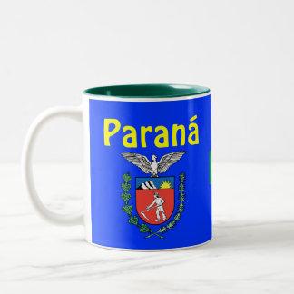 Paranáのブラジルの州のコーヒー・マグCanecaはParanáをします ツートーンマグカップ