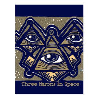 ParanormalPrints著宇宙の3人の石大工 ポストカード
