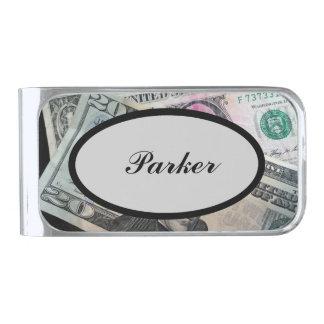 Parker名前入りなメンズ銀のマネークリップ シルバー マネークリップ