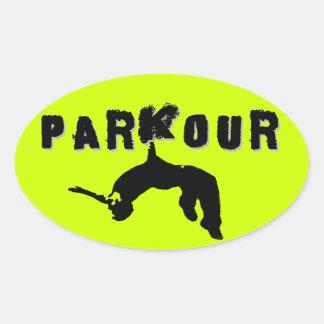 Parkourのアスリート 楕円形シール