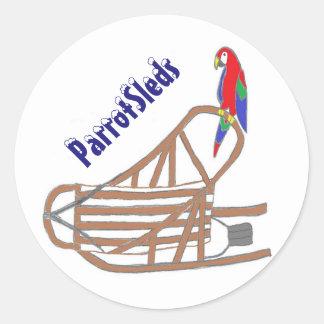 ParrotSledsのロゴのステッカー ラウンドシール