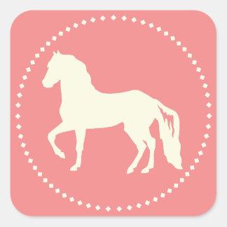 Paso Finoの馬のシルエット スクエアシール