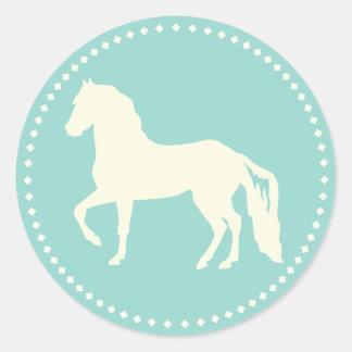 Paso Finoの馬のシルエット ラウンドシール