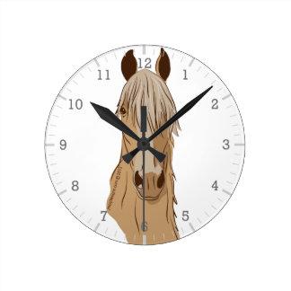 Paso Finos: Pasoの馬のPalominoの頭部 ラウンド壁時計