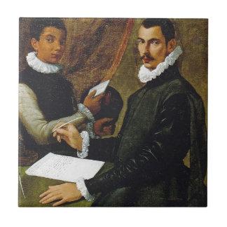 Passarotti著Dominico Giulianiおよび彼の使用人 タイル
