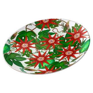 Passifloraのvitifolia 磁器プレート