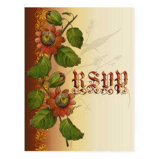 Passionflowerの結婚式の錆RSVP ポストカード
