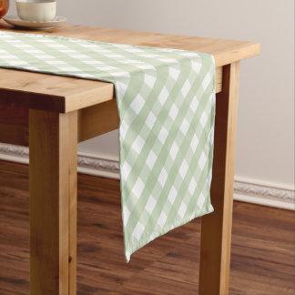 Pastel Green Gingham Check Pattern ショートテーブルランナー