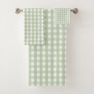 Pastel Green Gingham Check Pattern バスタオルセット
