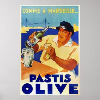 Pastisのオリーブ- Commeマルセーユ ポスター