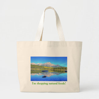 patricia湖の穏やかな場面 ラージトートバッグ
