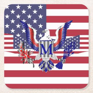 Patriotic American flag スクエアペーパーコースター