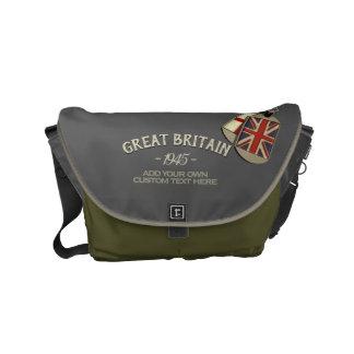 Patriotic Vintage Style British Dog Tags スモールメッセンジャーバッグ