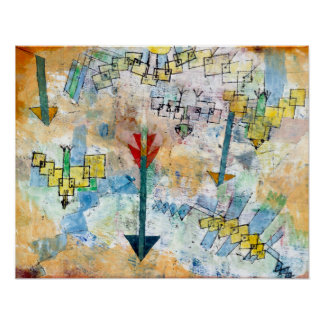 Paul Klee Birds Swooping Down and Arrows ポスター