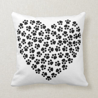 Paw Heart Throw Pillow クッション