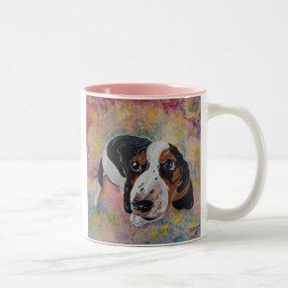 PAWP-ARTのバセットハウンドの子犬のマグ ツートーンマグカップ