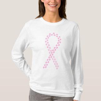 Pawprintのピンクのリボン Tシャツ