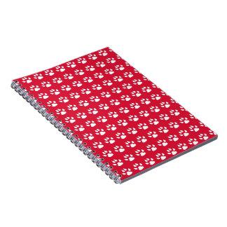 Pawprintパターン(赤く及び白い) ノートブック