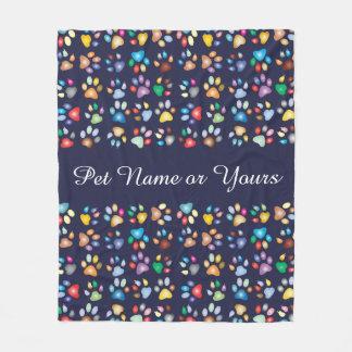 Pawprints犬猫。 個人化して下さい。 数々の毛布MED フリースブランケット