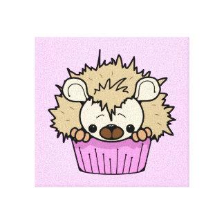 PCHのかわいい漫画のパステル調ピンクのハリネズミのカップケーキHAPP キャンバスプリント