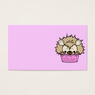 PCHのかわいい漫画のパステル調ピンクのハリネズミのカップケーキHAPP 名刺