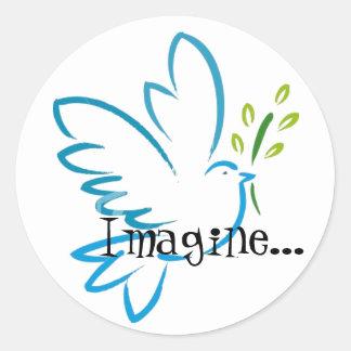 peace_dove_flyingは、…想像します ラウンドシール