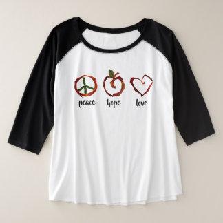 peace-hope-love プラスサイズラグランTシャツ