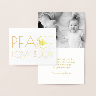Peace love and Joy dove Christmas photo gold 箔カード