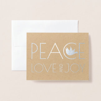 Peace love and Joy dove Christmas photo silver 箔カード