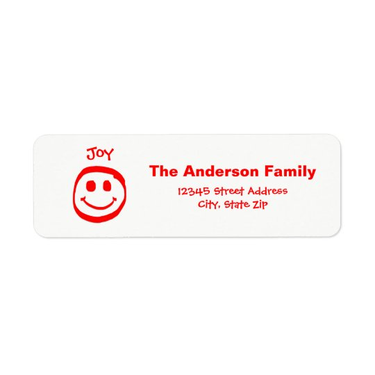 Peace, Love, Joy Smiley Face  - Address Label ラベル