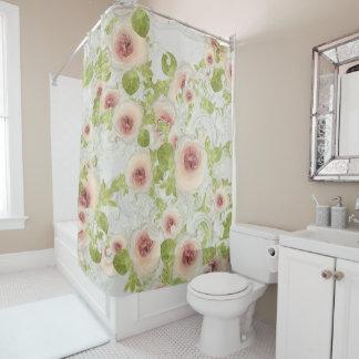 Peach Peony Blossom Floral Art Modern Scrollwork シャワーカーテン