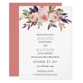 Peach Pink Lavender Purple Flowers Wedding | カード
