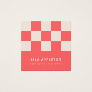 Peaches and Cream Chequered | Business Card スクエア名刺