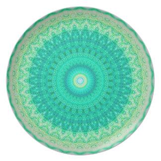 PEACKOCKの万華鏡のように千変万化するパターンSEAFOAMのプレート パーティー皿