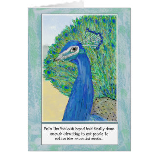 Peacock Cartoon Funny Birthday Greeting Card カード
