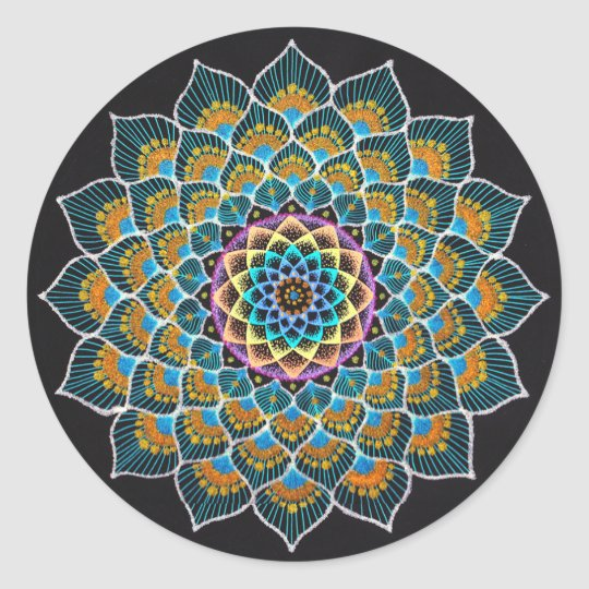 Peacock Mandala ラウンドシール