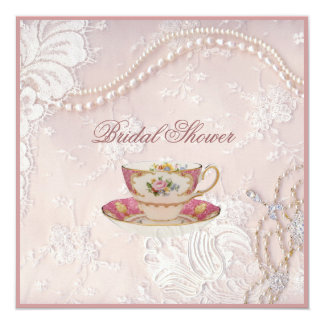 Pearl Blush pink lace bridal Tea Party Invitation カード