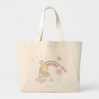 PEBBLES™の虹および花の雲 ラージトートバッグ