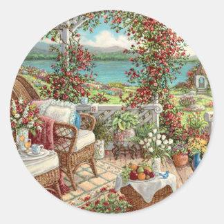 Pegatina vintage con muchas flores, paisaje jardín ラウンドシール