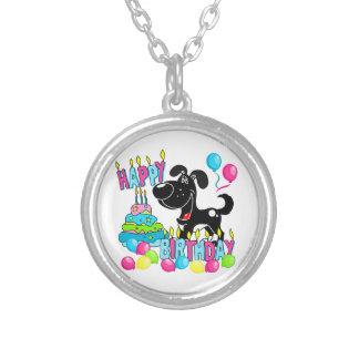 PEGUIの子犬のハッピーバースデー-影 シルバープレートネックレス