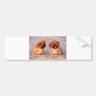 Pekingeseかわいい犬 バンパーステッカー