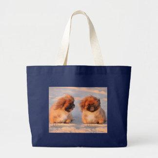 Pekingeseかわいい犬 ラージトートバッグ
