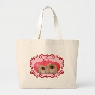 Pekingeseのバレンタイン ラージトートバッグ