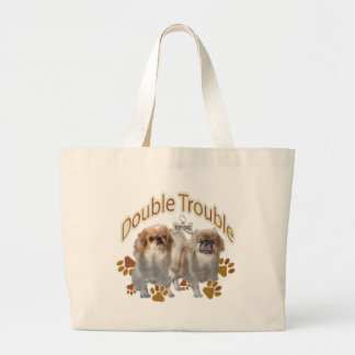 Pekingeseの二重悩み ラージトートバッグ