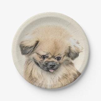 Pekingeseの絵画-かわいい元の犬の芸術 ペーパープレート