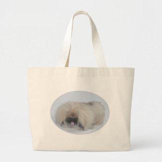 Pekingeseサンタ ラージトートバッグ