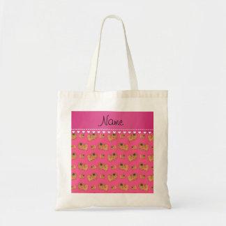 Pekingese名前入りな一流のピンクの犬 トートバッグ